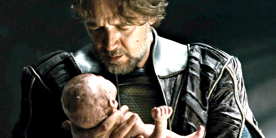 Jor El holds baby Kal El in Man of Steel