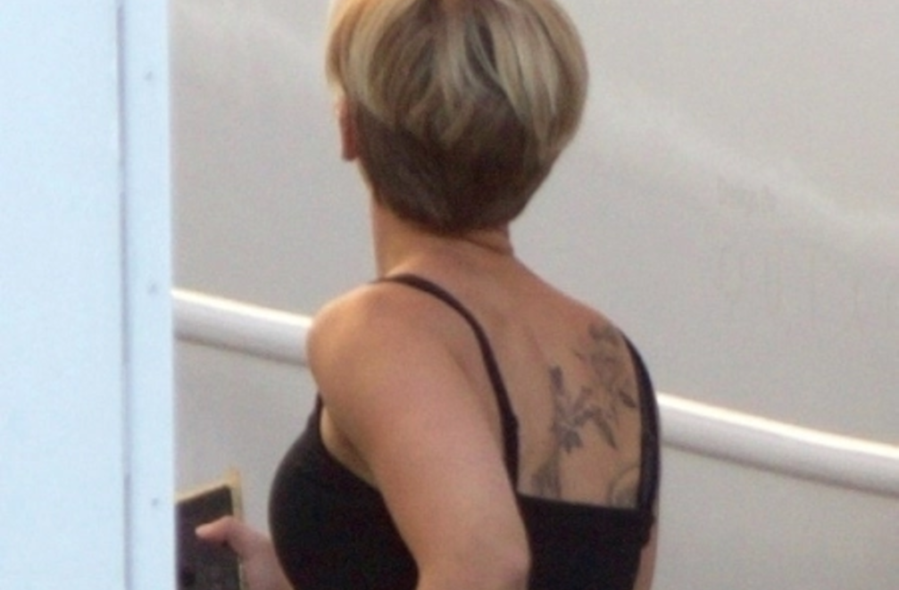Scarlett Johansson back tattoo
