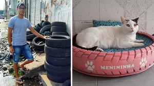 Ο 23χρονος που φτιάχνει κρεβατάκια για αδέσποτες γάτες από παλιά λάστιχα αυτοκινήτων